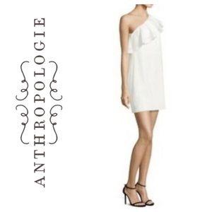 white off the shoulder ruffle eyelet mini dress